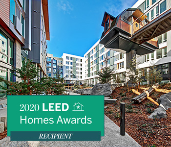 sitka courtyard with LEED Homes Award logo