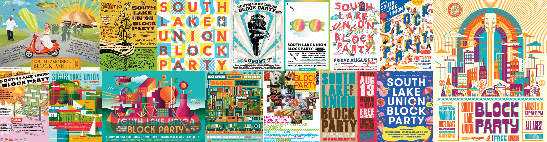 Collage of SLU Block Party Posters