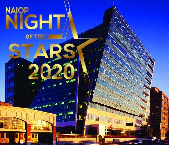 505 Union Station at dusk with NAIOP Night of the Stars logo